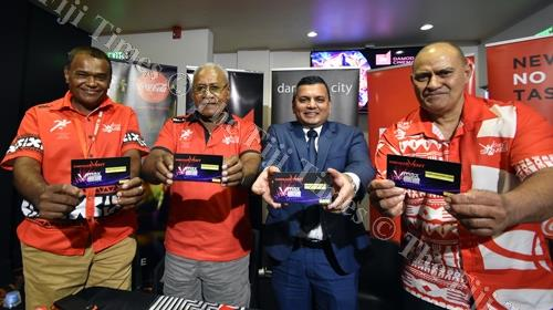 Lawrence Tikaram (left), Vuli Waqa, Div Damaodar and Marika Uluinaceva during the sponsorship launch yesterday. Picture: RAMA