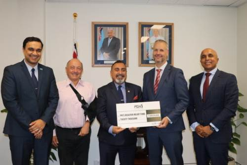 Fiji's high commissioner Yogesh Punja (centre) and Consul General & Trade Commissioner Zarak Khan (far left) with PGA executives at the presentation. Picture: SUPPLIED/Fiji International