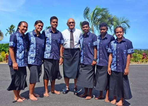 President Jioji Konrote is pictured with members of the Fiji U18 female team after the team's i-tatau presentation at Borron House in Suva today. Picture: JONACANI LALAKOBAU